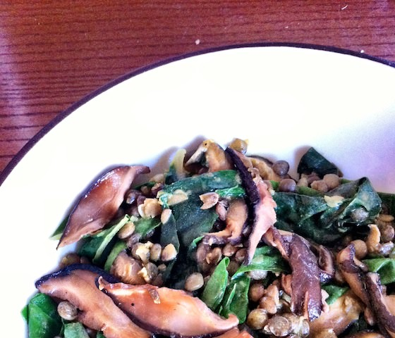 spiced lentils with mushrooms + chard