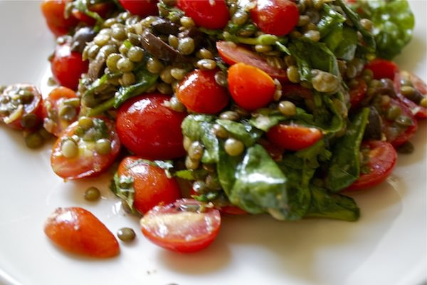 french lentils with tomato + olives