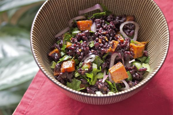 black rice with squash + ginger-sesame dressing