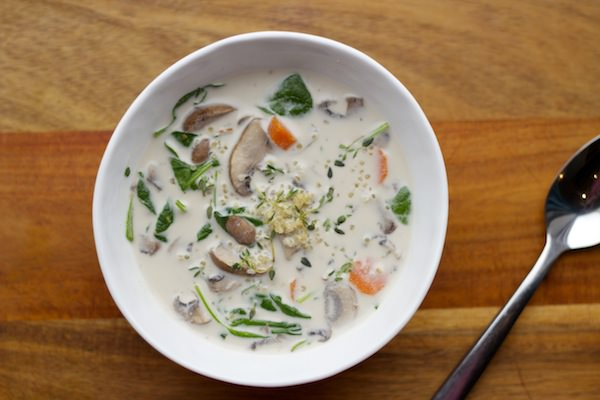 warm up — with a bowl of creamy mushroom + quinoa soup
