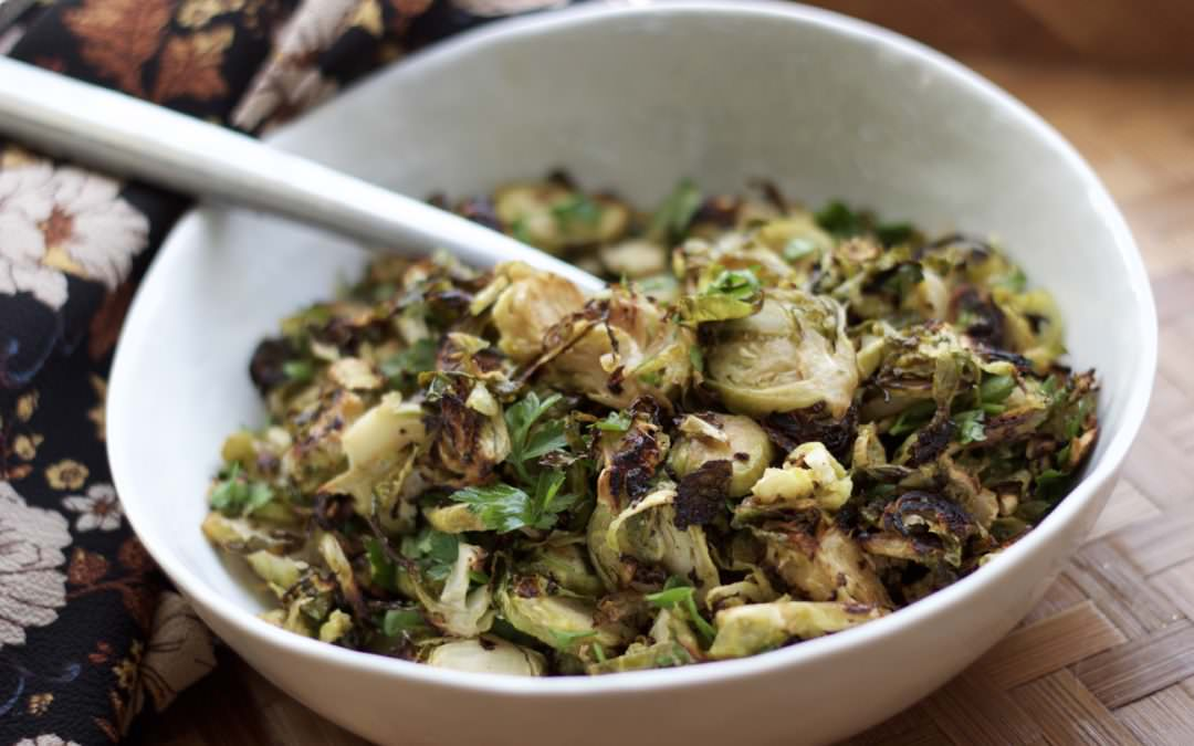 add this simple dish to your holiday table — maple mustard brussels sprout hash