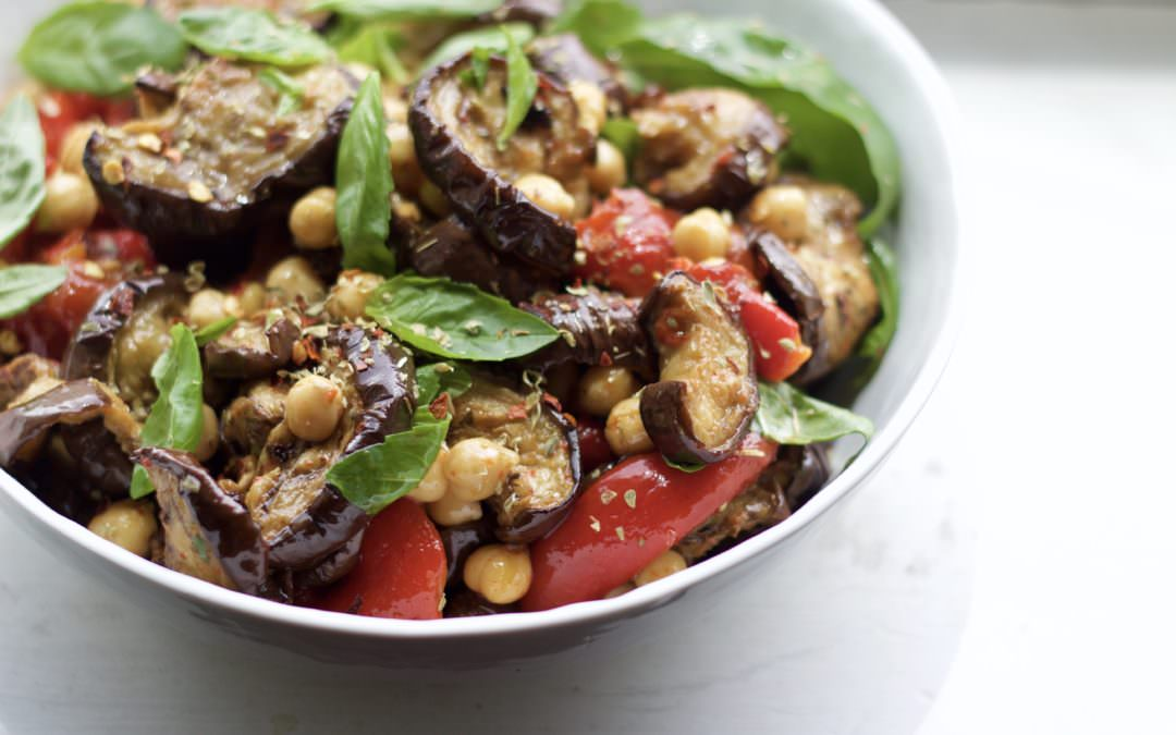 the perfect make-ahead summer dish – chickpeas with roasted eggplant, peppers + basil
