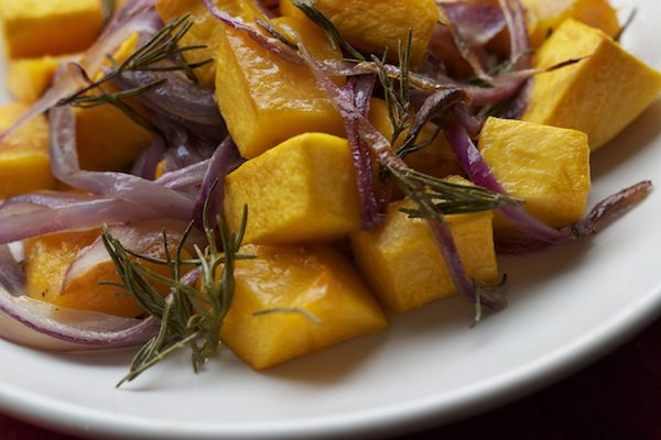 butternut squash with red onion + rosemary