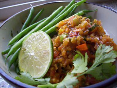 brown rice pilaf with smoked paprika & cilantro